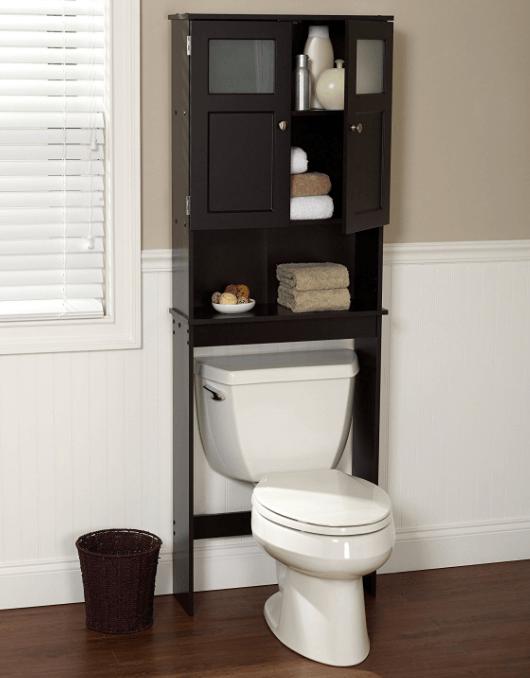 the best over the toilet storage options 2017. Black Bedroom Furniture Sets. Home Design Ideas