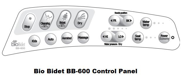 bio bidet bb 600 control panel