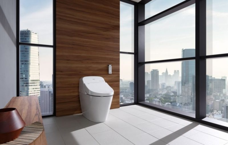 TOTO Washlet G400 in a bathroom overlooking a city